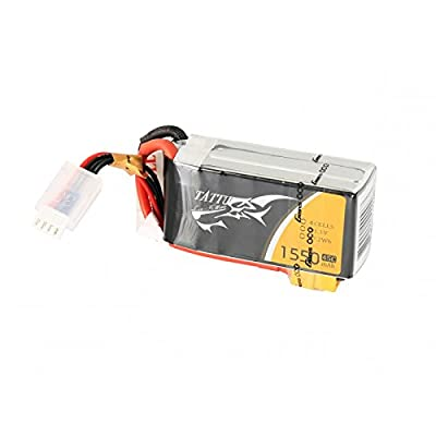 Tattu LiPo Battery Pack 1550mAh 14.8V 45C 4S with XT60 Plug for RC Heli Airplane UAV Drones FPV Racing Quadcopters