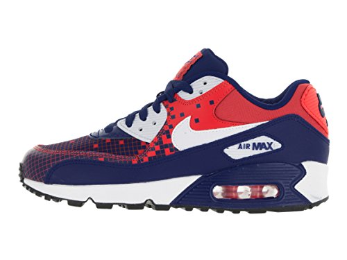 Nike Air Max 90 Prem Mesh (GS), Chaussures de Running Compétition Garçon, Bleu Blue / White / Orange / Black (Dp Ryl Blue / Wht-Lt Crmsn-Blck)