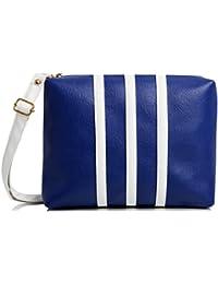 mammon Women's Sling Bag Blue & White - slg-3strip-Bw