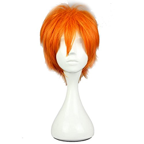 Top Cosplay 30CM Cosplay Perücke Orange Kurz Haar