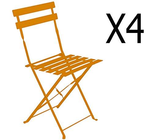 PEGANE Lot de 4 chaises Pliantes en Acier Coloris Mandarine - Dim: 42 x 46 x 80 cm