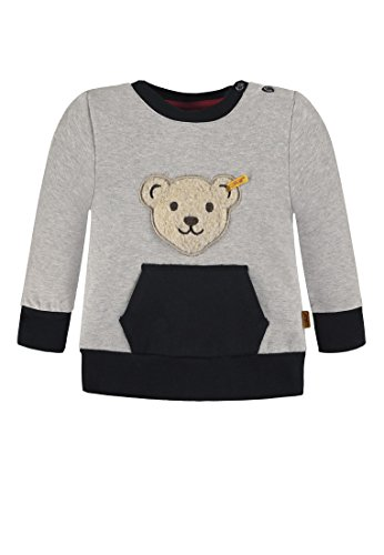 Steiff Baby Jungen Sweatshirt Quietschbär 6843633, Grau (Snow Grey Melange Gray 8359), 86