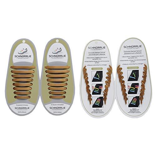 Lace Slip Sneaker (SCHNÜRRLIE Elastische Silikon Schnürsenkel - Der perfekte Schnürbänder Ersatz für Sneaker Turnschuhe Sportschuh (16 Stück Gold))