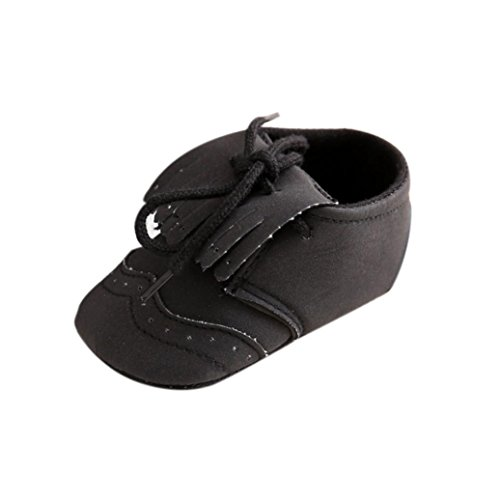 Clode® Baby Mädchen Schnürsenkel Lederschuh Anti-Rutsch-Soft Sole Kleinkind Schue Schwarz
