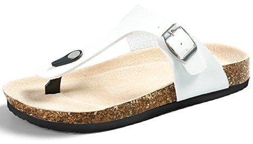 SANDALUP Pantoletten Damen Zehentrenner Sandalen Sommer Schuhe Weiß 39