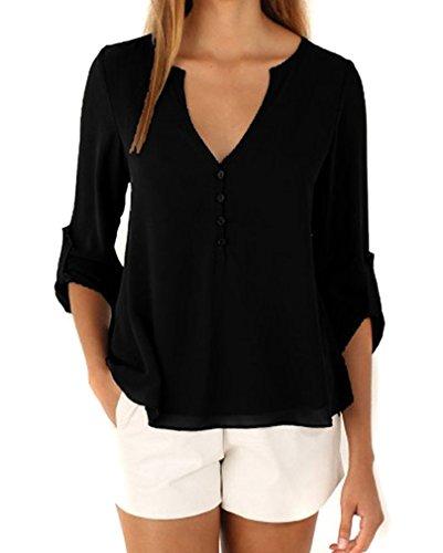 AIYUE Camicia Donna Collo a V Maniche Lunghe in Chiffon Camisetta Bluse Basic Estivo Causal Allentato Colore Solido Top(nero,S)