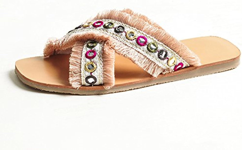 DYY Zapatillas Rojas netas, Zapatos Planos de Moda, Sandalias de Tejido Cruzado de Verano 2018,Color del Arco,39