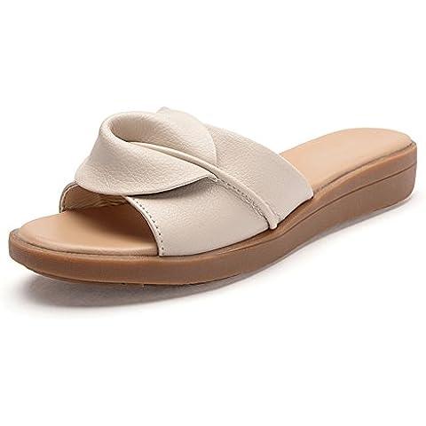cuoio ciabatte donna/All'aperto estate moda Lady di pantofole alla fine
