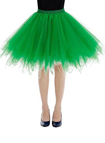 Bbonlinedress Kurz Retro Petticoat Rock Ballett Blase 50er Tutu Unterrock Green (Tutu Grün)