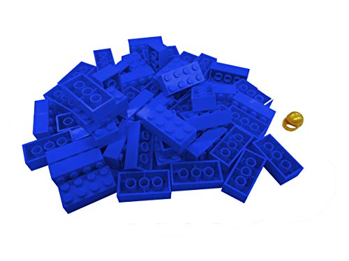 LEGO CITY - 50 Steine in blau mit 2x4 Noppen plus 1 seltener Helm in gold