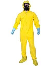 Mens Yellow Biohazzard Hazmat Suit Fancy Dress Costume