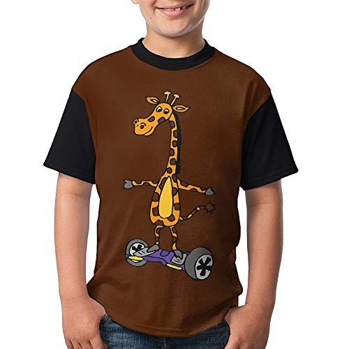 HRTSHRTE Gift for Big Girl& Big Boy - Funny Giraffe On Hoverboard Short Sleeve Crew-Neck T-Shirt