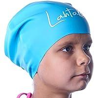Gorro de Natación para Pelo Largo Infantil - Gorro de Baño para Niñas, Niños y Adolescentes con Rastas o Pelo Largo y Rizado - Gorro de Piscina de Silicona 100% Hipoalergénica (Aqua Blue S)