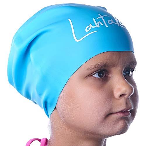 Badekappe Kinder Lange Haare - Badekappe für Mädchen Jungen Kids Teens mit langem lockigem Haar Zöpfe Dreadlocks - 100% Silikon hypoallergene Wasserdichte Badehaube (Aqua Blaue S)