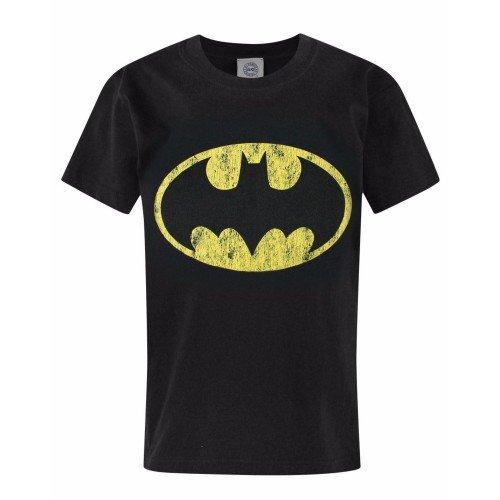Batman Logo - T-Shirt à Manches Courtes - Garçon (12-13 Ans) (Noir)