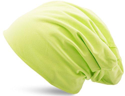 Jersey Baumwolle elastisches Long Slouch Beanie Unisex Mütze Heather in 35 verschiedenen Farben (3) (Light Green)
