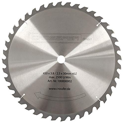 Hartmetall HM Kreissägeblatt 450x30 Z40 für Tischkreissägen, Handkreissägen, Gehrungssägen und Wippkreissägen. Grobschnittsägeblatt für den Längs- und Querschnitt in der Holzverarbeitung und Brennholzverarbeitung