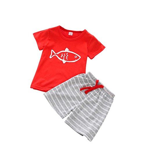 Kinderkleidung Jungen,Binggong 1 Satz Sommer Casual Kinder Kind Kleinkind Cartoon T-Shirt + Strand Shorts Hosen Baby Bluse Mode Oberteile Shirt (80, Rot) Neugeborene Mädchen Kurze Sätze