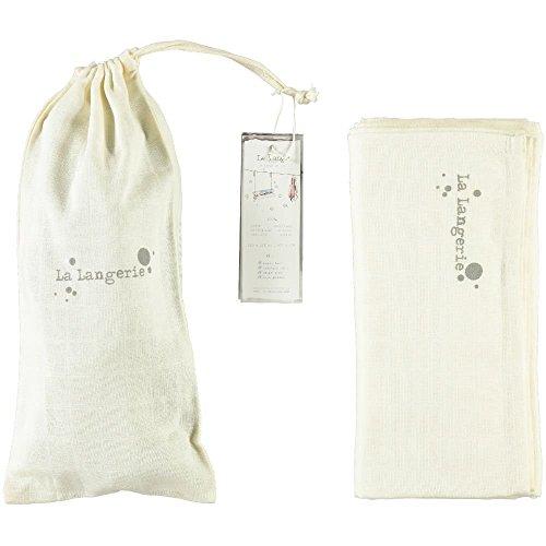 La Langerie - Maxi Lange + Pochon - blanc cassé - 120 x 120 cm - coton biologique - emmaillotage