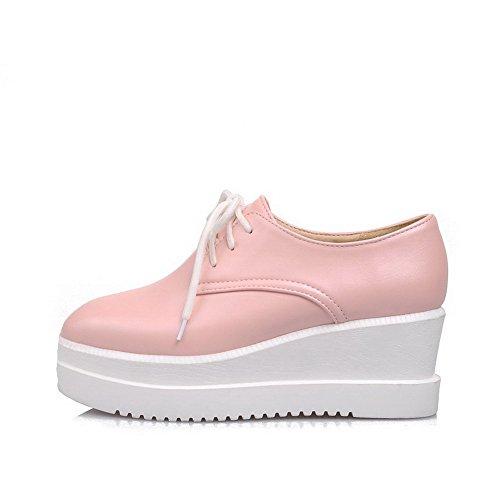 AllhqFashion Damen Pu Leder Mittler Absatz Zehe Rein Schnüren Pumps Schuhe Pink