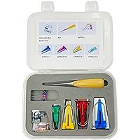 Top-spring 7 herramientas Top-spring para tela tipo bies, marcador para cinta, costura de acolchado, prensatelas, punzón de acolchado, alfileres cabeza perlada