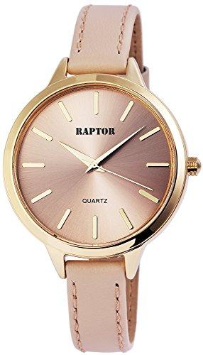 68771b16fb4d25 Raptor Damen-Uhr schmales Armband Oberseite Echtleder Analog Quarz  RA10024-005
