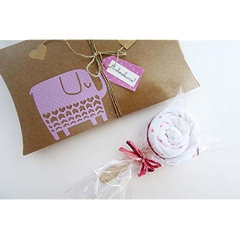Pillow Box contenente una Piruleta hecha con un Body de marca,100% algodón - Para Niñas, Niños o UNISEX