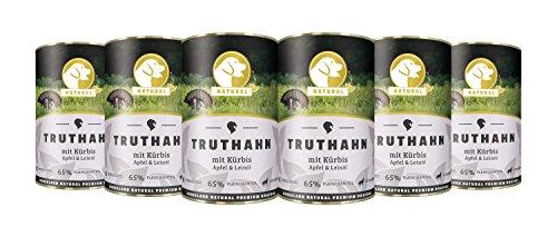 Hundeland Natural   Truthahn + Kürbis   6 x 400 g   getreidefreies Hundefutter   Nassfutter für alle Hunderassen   viel frisches Fleisch   artgerecht & besonders gut verträglich (Geräucherter Ente)