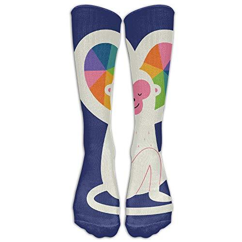 Bgejkos Monkey Rainbow Heart Fun Novelty Calf Long Sock Crew Athletic Tube High Stockings Sport (Monkey Pants Sock)