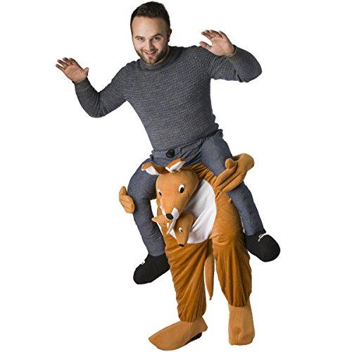 Kostüme Känguru Erwachsene (Carry Me Fasching-Kostüm Aufsitzkostüm Schlüpfkostüm für Erwachsene Huckepack Karneval-Kostüm)