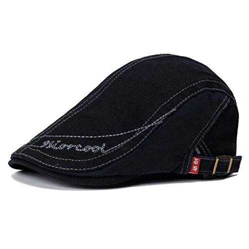 Anshili Unisex Britischen Stil Baumwollhüte (Schwarz) (Herren Sommer Newsboy Caps)