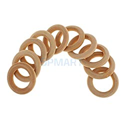 ELECTROPRIME 10pcs Unifinished Natural Blank Round Wooden Hoop Baby Teether Teething Ring