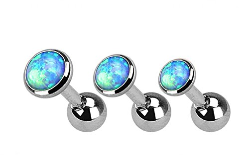 Kultpiercing - 3er Set - Helix Piercing Stab Fancy Opal - Tragus Piercing-Stecker Barbell 3-5 mm - Türkis