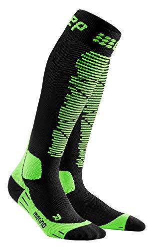 CEP - SKI Merino Socks Redesign für Herren | Merinosocken für den Wintersport in schwarz/grün | Größe IV
