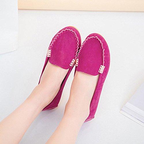Longra Couleur Unie Femme En Cuir Synthétique Ronde Confortable Et Confortable Slip-on Talon Bas Chaussures Bateau Chaussures Nues Hot Pink