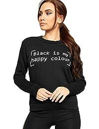 WEARALL Women's Long Sleeve Monochrome Slogan Text Print Crew Neck Top Ladies Sweatshirt 8-14