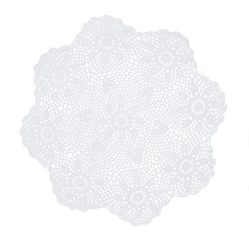kilofly Handgefertigte Häkelspitze Tischdecke aus Baumwolle 22 inch White weiß