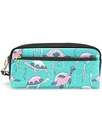 Estuche de gran capacidad para lápices con diseño de tortugas marinas de dibujos animados con cremallera