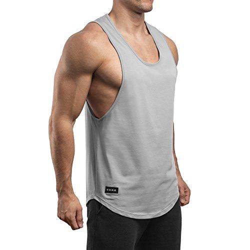Sixlab Round Fusion Tank Top Fitness Shirt Gym Herren (S, Grau) - Fusion Bodybuilding