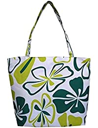 Hawaiian Flowers Print Summer Beach Polyester Fashion Tote Bag With Zipper (Turquoise) By Simple Accessories