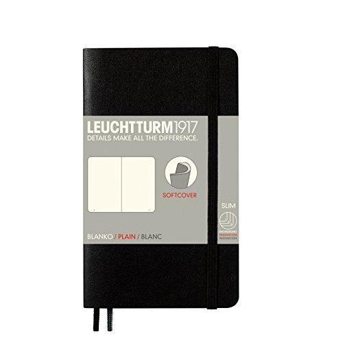 Leuchtturm1917 305477Taccuino tascabile in formato A6, con copertina morbida, rigatura: pagine bianche, da 121pagine, colore: nero