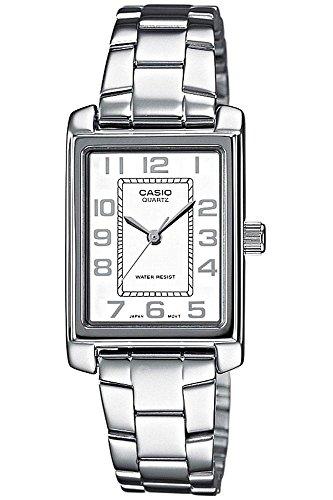 CASIO Collection LTP-1234PD-7BEF – Reloj de cuarzo con correa de acero inoxidable para mujer, color plateado