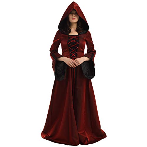 Mittelalterliche Kleid Kostüm - BLESSUME Gothic Damen Mittelalterlich Renaissance Mit Kapuze Kleid Rock (Rot, S)