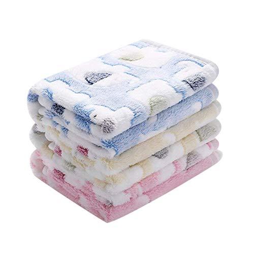 Cikuso 1Er Pack 3 Decken Super Weich Flauschige Premium Koralle Fleece Haustier Decke Flanell Werfen Für Hund Welpe Katze (Werfen Fleece Katze Decke)