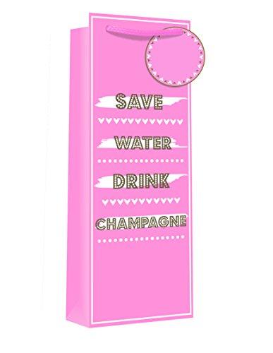 (Save Water Drink Champagne Nullen & Kisses Glitter Effekt Flasche Geschenk Tasche pink & silber mit Geschenk-Tag–35,6x 12,7cm)