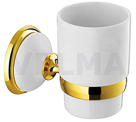 VELMA - 278358 - Exclusive toothbrush holder from our Bianco Gold range - timeless design - highly polished chrome-plated brass and high quality ceramic and 18ct gold (750) - 100% rustproof - premium quality