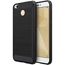 Funda Xiaomi Redmi 4X, Simpeak Negro Silicona Fundas Xiaomi Redmi 4X Carcasa Xiaomi Redmi Hongmi 4X Fibra De Carbono Funda Case(5,0 Pulgadas)