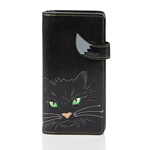 Shagwear - Monederos para mujeres jóvenes: Varios colores y diseños: (cara de gato ojos verdesnegro / cat eyes black)