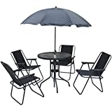 kingfisher 6 piece patio dining set 4 seater outdoor garden furniture with glass topped table 4 folding chairs parasol umbrella for decking or balcony