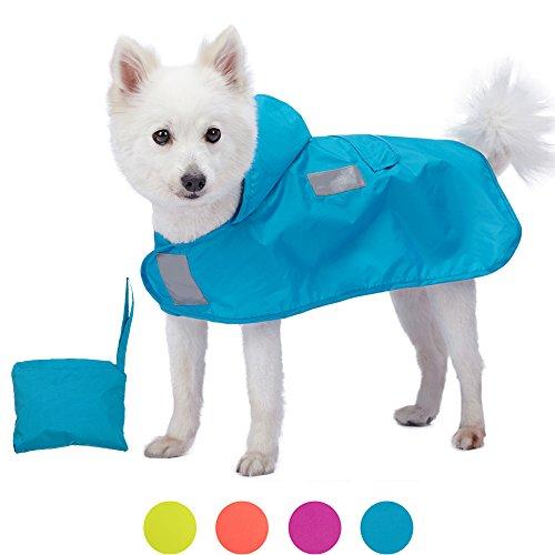 Blueberry Pet 30cm Leichter Verstaubarer Kapuzen-Hunde-Regenmantel Poncho mit 3M Reflektor-Sicherheitsstreifen in Azurblau, Einzelpackung Outdoor Regenjacke für Hunde
